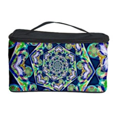 Power Spiral Polygon Blue Green White Cosmetic Storage Case by EDDArt