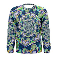 Power Spiral Polygon Blue Green White Men s Long Sleeve Tee
