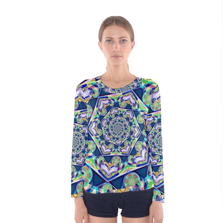 Power Spiral Polygon Blue Green White Women s Long Sleeve Tee