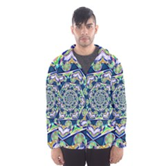 Power Spiral Polygon Blue Green White Hooded Wind Breaker (men)