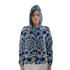 Power Spiral Polygon Blue Green White Hooded Wind Breaker (women)