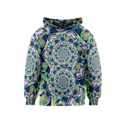 Power Spiral Polygon Blue Green White Kids  Pullover Hoodie by EDDArt
