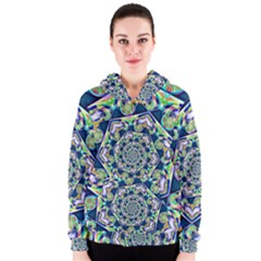 Power Spiral Polygon Blue Green White Women s Zipper Hoodie