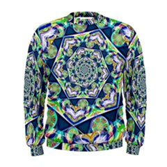 Power Spiral Polygon Blue Green White Men s Sweatshirt