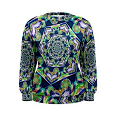 Power Spiral Polygon Blue Green White Women s Sweatshirt