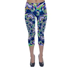 Power Spiral Polygon Blue Green White Capri Winter Leggings