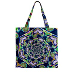 Power Spiral Polygon Blue Green White Zipper Grocery Tote Bag by EDDArt