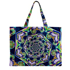 Power Spiral Polygon Blue Green White Zipper Mini Tote Bag by EDDArt