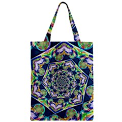 Power Spiral Polygon Blue Green White Zipper Classic Tote Bag by EDDArt