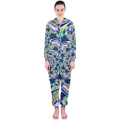 Power Spiral Polygon Blue Green White Hooded Jumpsuit (ladies)  by EDDArt