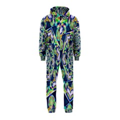Power Spiral Polygon Blue Green White Hooded Jumpsuit (kids)