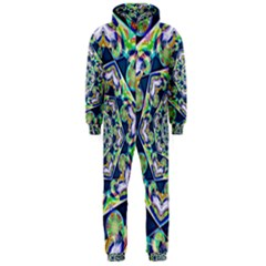 Power Spiral Polygon Blue Green White Hooded Jumpsuit (men)  by EDDArt
