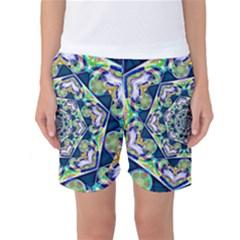 Power Spiral Polygon Blue Green White Women s Basketball Shorts