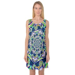 Power Spiral Polygon Blue Green White Sleeveless Satin Nightdress