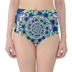 Power Spiral Polygon Blue Green White High Waist Bikini Bottoms by EDDArt