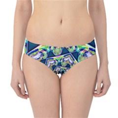 Power Spiral Polygon Blue Green White Hipster Bikini Bottoms by EDDArt