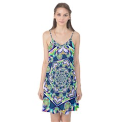 Power Spiral Polygon Blue Green White Camis Nightgown by EDDArt