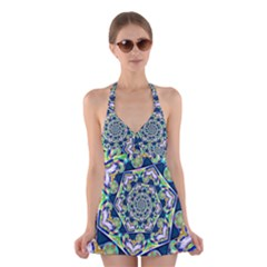 Power Spiral Polygon Blue Green White Halter Swimsuit Dress by EDDArt