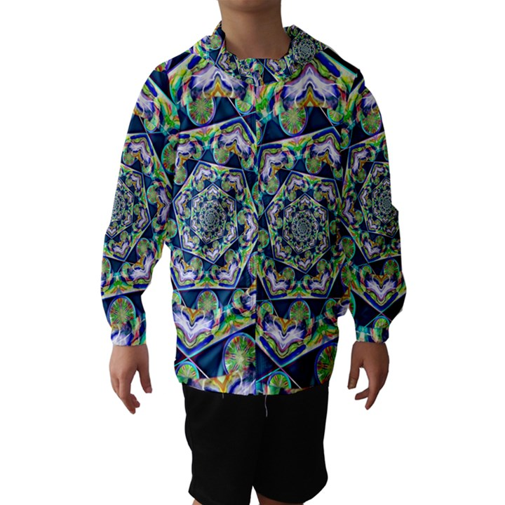 Power Spiral Polygon Blue Green White Hooded Wind Breaker (Kids)