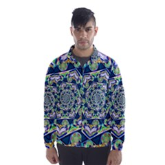 Power Spiral Polygon Blue Green White Wind Breaker (men) by EDDArt