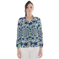 Power Spiral Polygon Blue Green White Wind Breaker (women) by EDDArt