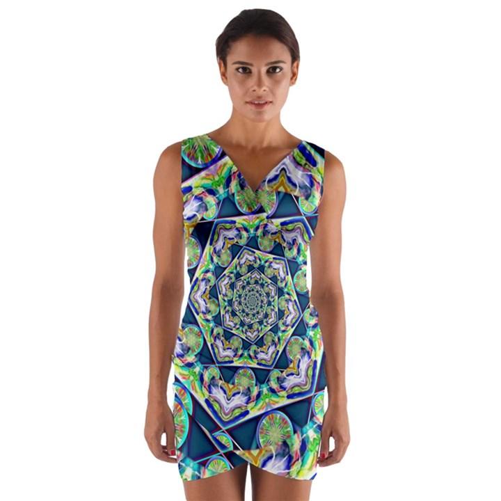 Power Spiral Polygon Blue Green White Wrap Front Bodycon Dress