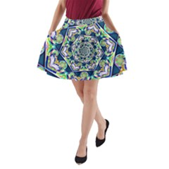 Power Spiral Polygon Blue Green White A Line Pocket Skirt by EDDArt