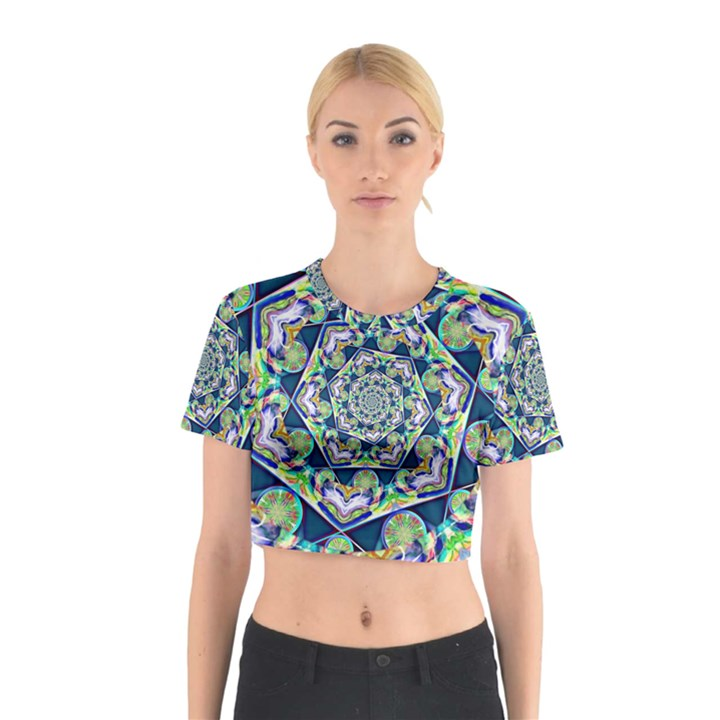 Power Spiral Polygon Blue Green White Cotton Crop Top