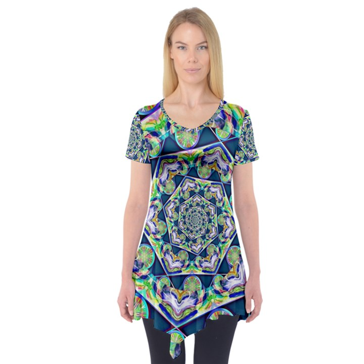 Power Spiral Polygon Blue Green White Short Sleeve Tunic
