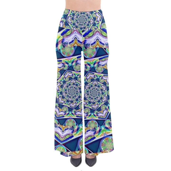 Power Spiral Polygon Blue Green White Pants