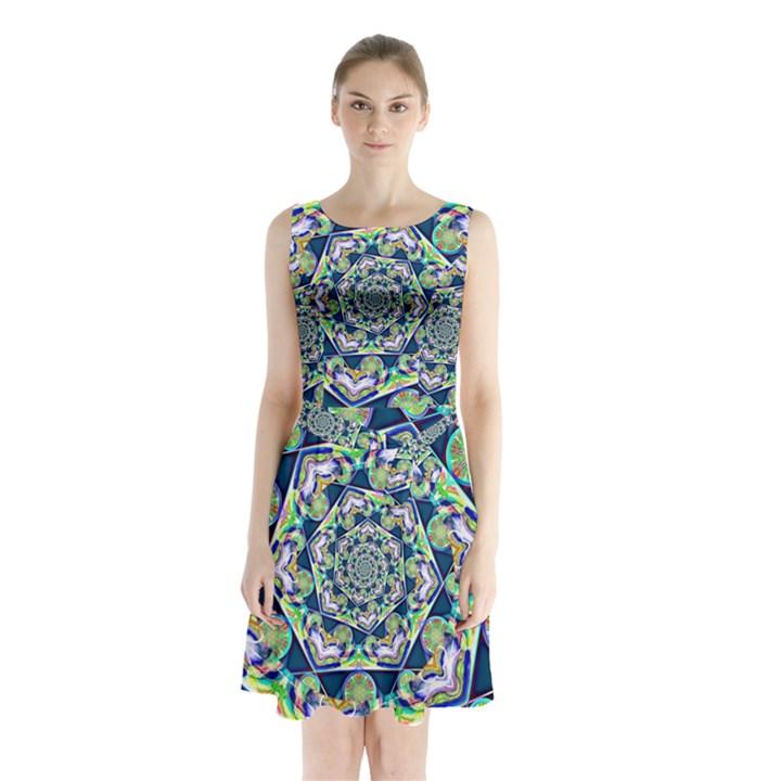 Power Spiral Polygon Blue Green White Sleeveless Chiffon Waist Tie Dress