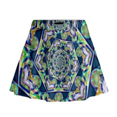 Power Spiral Polygon Blue Green White Mini Flare Skirt by EDDArt