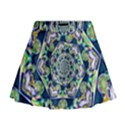 Power Spiral Polygon Blue Green White Mini Flare Skirt View1