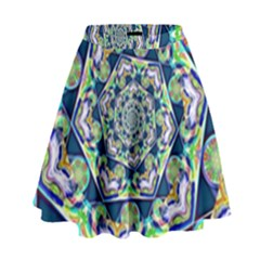 Power Spiral Polygon Blue Green White High Waist Skirt by EDDArt