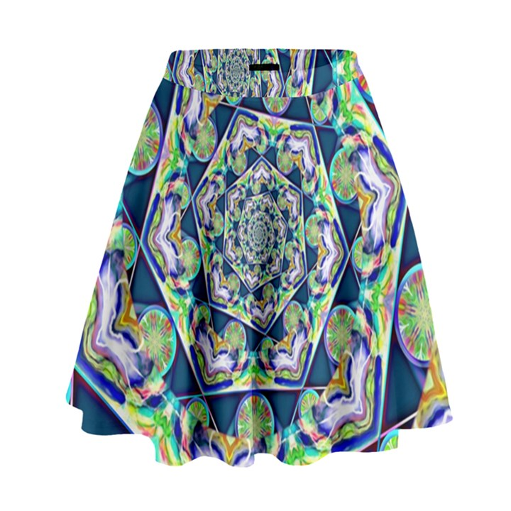 Power Spiral Polygon Blue Green White High Waist Skirt