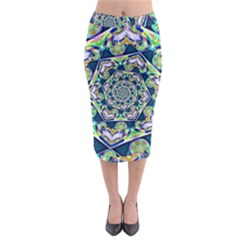 Power Spiral Polygon Blue Green White Midi Pencil Skirt by EDDArt