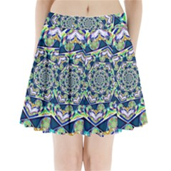 Power Spiral Polygon Blue Green White Pleated Mini Skirt by EDDArt