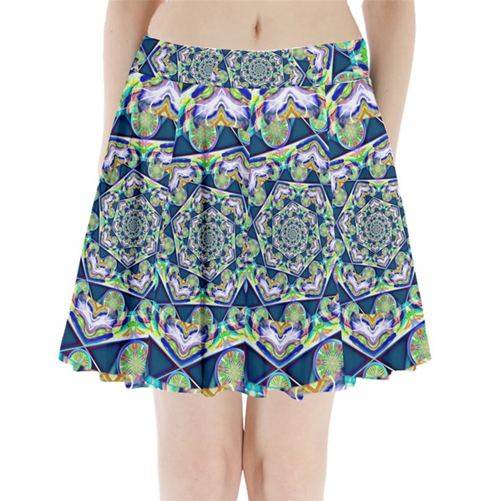 Power Spiral Polygon Blue Green White Pleated Mini Skirt