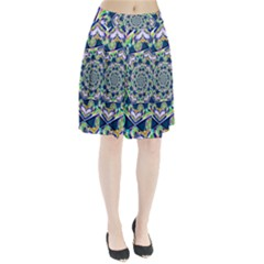 Power Spiral Polygon Blue Green White Pleated Skirt by EDDArt