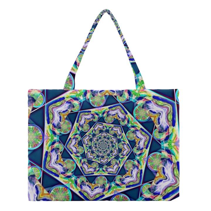 Power Spiral Polygon Blue Green White Medium Tote Bag