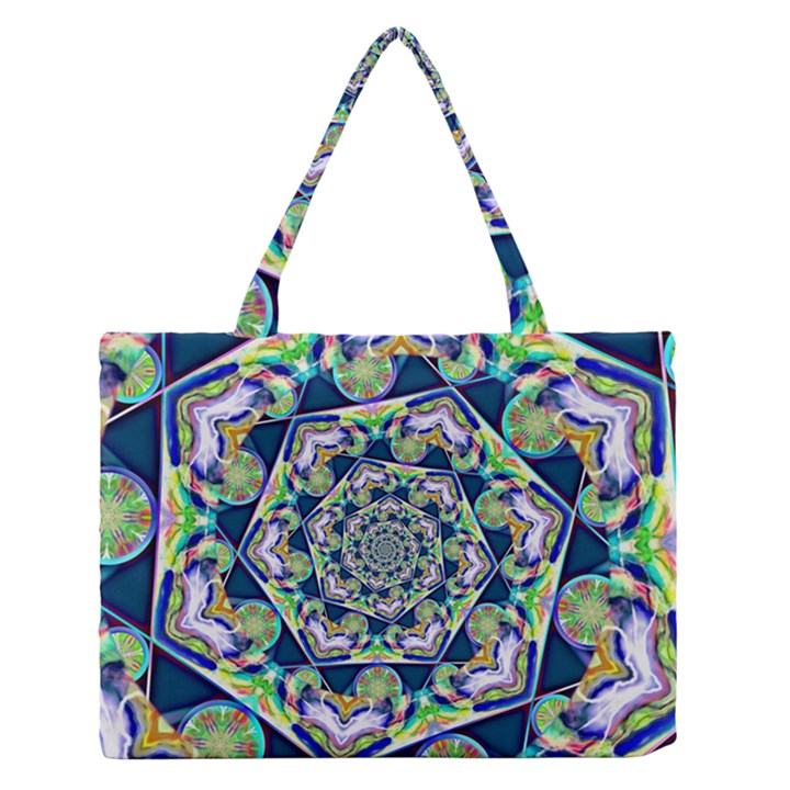 Power Spiral Polygon Blue Green White Medium Zipper Tote Bag
