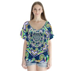 Power Spiral Polygon Blue Green White Flutter Sleeve Top by EDDArt