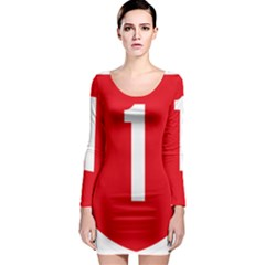 New Zealand State Highway 1 Long Sleeve Bodycon Dress