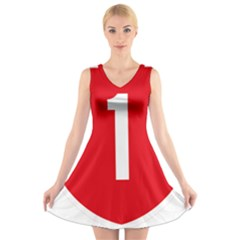 New Zealand State Highway 1 V Neck Sleeveless Skater Dress