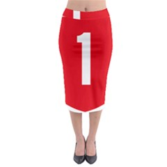 New Zealand State Highway 1 Midi Pencil Skirt