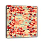Modern Hipster Triangle Pattern Red Blue Beige Mini Canvas 6  x 6