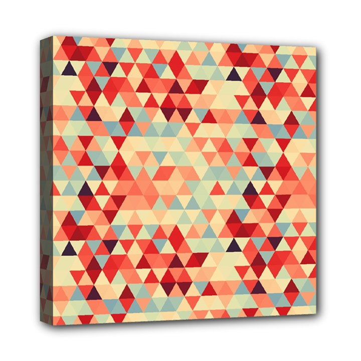 Modern Hipster Triangle Pattern Red Blue Beige Mini Canvas 8  x 8