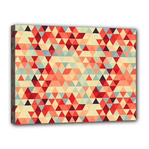 Modern Hipster Triangle Pattern Red Blue Beige Canvas 16  X 12  by EDDArt
