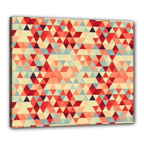 Modern Hipster Triangle Pattern Red Blue Beige Canvas 24  X 20