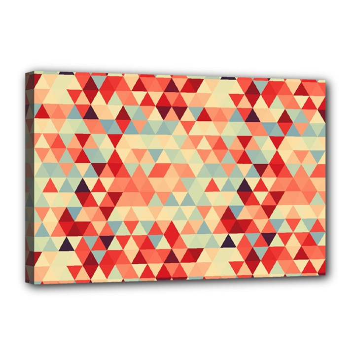 Modern Hipster Triangle Pattern Red Blue Beige Canvas 18  x 12